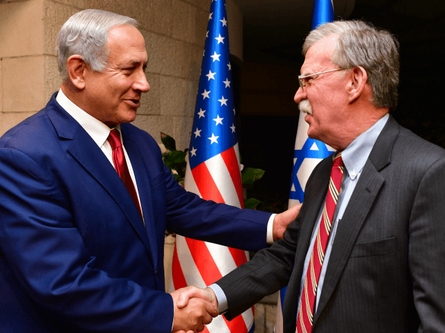 JERUSALEM, ISRAEL - JANUARY 6: (ISRAEL OUT) Israeli Prime Minister Benjamin Netanyahu shakes hands with White House National Security Adviser John Bolton as they meet on January 6, 2019 in Jerusalem, Israel. (Photo by Kobi Gideon/GPO via Getty Images)