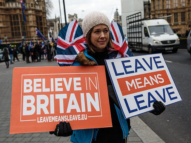 LONDON, ENGLAND - JANUARY 15: Pro-Brexit protesters demonstrate outside the Houses of Parliament on January 15, 2019 in London, England. Theresa May's Brexit deal finally reaches the House of Commons this evening and MPs will begin voting on it at 7pm. The Prime Minister has consistently said her's is the …