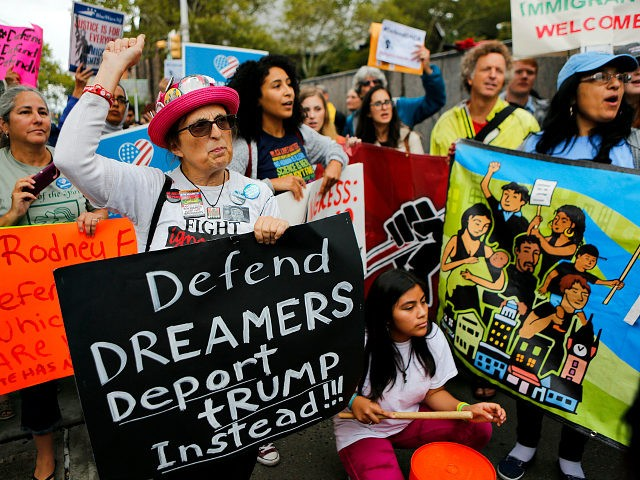 NEWARK, NJ - SEPTEMBER 06: Immigration activists protest the Trump administration's decision to end the Deferred Action for Childhood Arrivals (DACA) program on September 6, 2017. in Newark, New Jersey. The decision represents a blow to young undocumented immigrants, also known as 'dreamers,' who have been shielded from deportation under …
