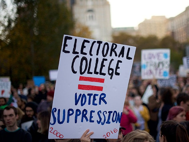 PHILADELPHIA, PA - NOVEMBER 13: Protestors demonstrate against President-elect Donald Trump outside Independence Hall November 13, 2016 in Philadelphia, Pennsylvania. The Republican candidate lost the popular vote by more than a million votes, but won the electoral college. (Photo by Mark Makela/Getty Images)