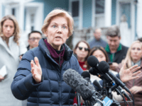 Sen. Elizabeth Warren (D-MA), addresses the media outside of her home after announcing she formed an exploratory committee for a 2020 Presidential run on December 31, 2018 in Cambridge, Massachusetts. Warren is one of the earliest potential candidates to make an official announcement in what is expected to be a …