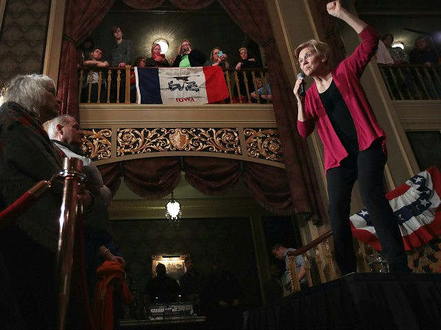 SIOUX CITY, IOWA - JANUARY 05: Sen. Elizabeth Warren (D-MA) speaks to guests during an organizing event at the Orpheum Theater on January 5, 2019 in Sioux City, Iowa. Warren announced on December 31 that she was forming an exploratory committee for the 2020 presidential race. (Photo by Scott Olson/Getty …