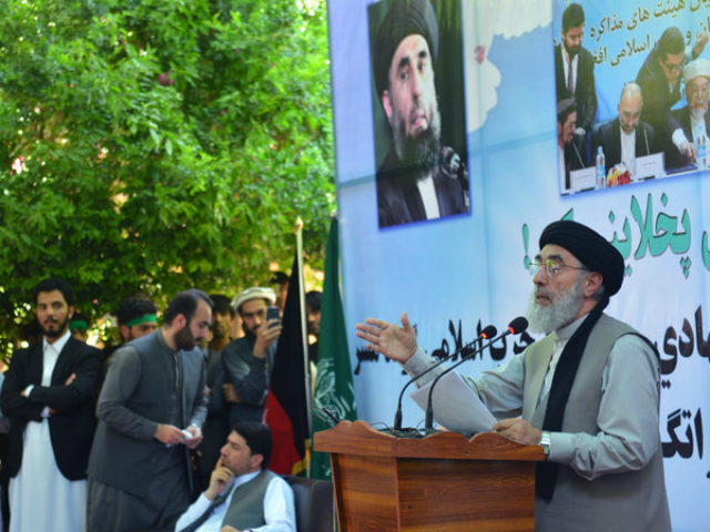 """Afghan warlord Gulbuddin Hekmatyar speaks in eastern Afghanistan on Saturday. A prominent figure for decades in Afghanistan's war, Hekmatyar, 69, was known as the """"Butcher of Kabul"""" when his forces rocketed the city in the 1990s. He made peace with the government and President Ashraf Ghani welcomed him back to …"""