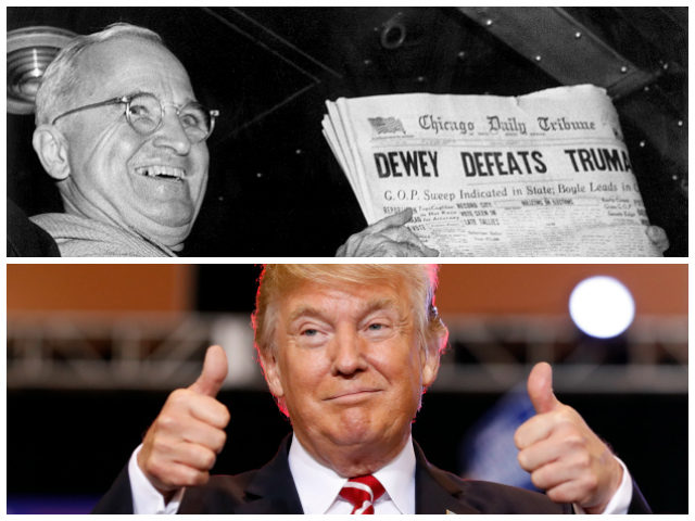 "In this Nov. 4, 1948, file photo, President Harry S. Truman at St. Louis' Union Station holds up an election day edition of the Chicago Daily Tribune, which - based on early results - mistakenly announced ""Dewey Defeats Truman."" (AP Photo/Byron Rollins) President Donald Trump reacts before speaking at a …"