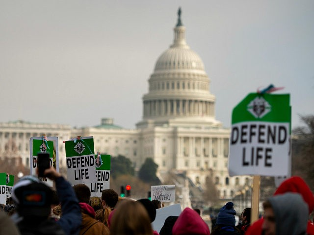 Students and activists carry signs during the annual 'March for Life' in Washington, DC on January 18, 2019. (Photo by ANDREW CABALLERO-REYNOLDS / AFP) (Photo credit should read ANDREW CABALLERO-REYNOLDS/AFP/Getty Images)