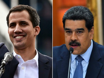 """(COMBO) This combination of pictures created on January 24, 2019 shows (L) Venezuela's National Assembly head Juan Guaido waving to the crowd during a mass opposition rally against leader Nicolas Maduro in which he declared himself the country's """"acting president"""", on the anniversary of a 1958 uprising that overthrew military …"""