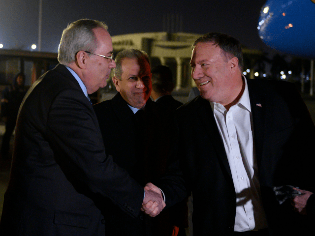 US Secretary of State Mike Pompeo (C) and his wife Susan (R) are greeted by Assistant Foreign Minister For North and South American Affairs , Reda Habeeb Ibrahim Zaki (2L) and Charge d'Affaires for the US Embassy in Egypt, Tom Goldberger (L), as they arrive at Cairo International Airport in …