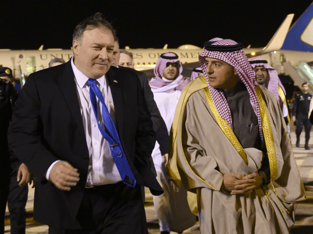 US Secretary of State Mike Pompeo (L) is greeted by Saudi's Minister of State for Foreign Affairs Adel al-Jubeir in Riyadh on January 13, 2019, during his extensive Middle East tour. (Photo by ANDREW CABALLERO-REYNOLDS / various sources / AFP) (Photo credit should read ANDREW CABALLERO-REYNOLDS/AFP/Getty Images)