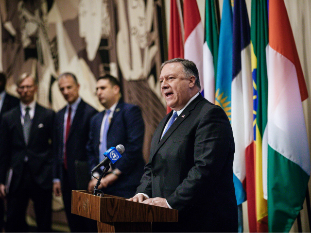NEW YORK, NY - DECEMBER 12: United States Secretary of State Mike Pompeo speaks during a press conference following the United Nations Security Council meeting on Iran at the United Nations on December 12, 2018 in New York City. (Photo by Kevin Hagen/Getty Images)