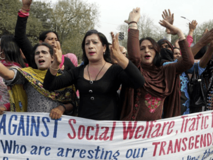 Members of the Pakistani transgender community stage a protest against their persecution in the eastern Pakistani city of Lahore on March 12.