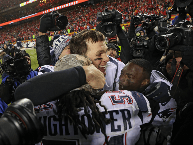 Tom Brady #12 of the New England Patriots celebrates after defeating the Kansas City Chiefs during the AFC Championship Game at Arrowhead Stadium on January 20, 2019 in Kansas City, Missouri. (Photo by Patrick Smith/Getty Images)