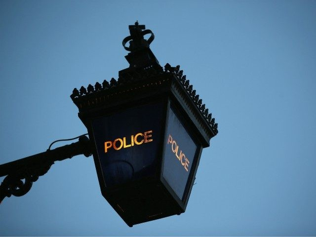 LONDON, ENGLAND - FEBRUARY 15: A Police Lantern glows at twilight outside Kennington Police Station on February 15, 2015 in London, England. (Photo by Dan Kitwood/Getty Images)