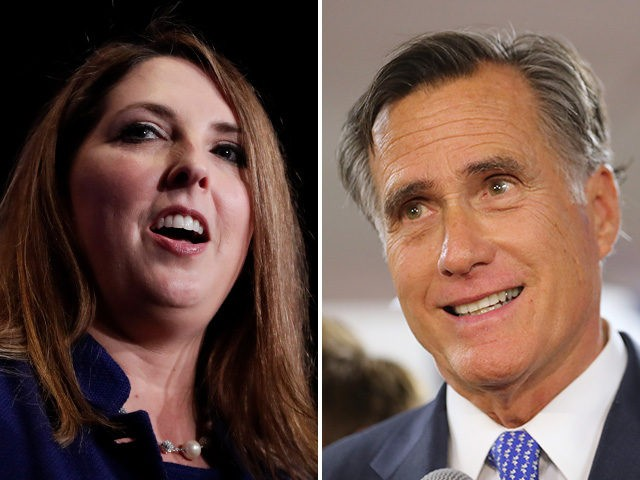 Collage of Ronna McDaniel and Mitt Romney