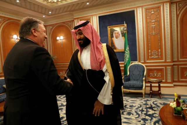 US Secretary of State Mike Pompeo meets Saudi Crown Prince Mohammed bin Salman during a previous visit to Riyadh on October 16, 2018