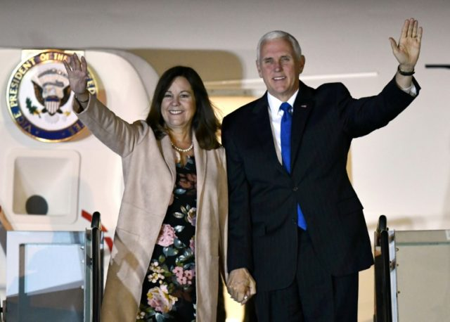 US Vice President Mike Pence and his wife Karen, seen here in November 2018 on a visit to Tokyo, are powerful proponents of religious conservatism in America