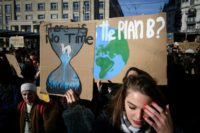'Make love, not CO2': Swiss students march for climate action