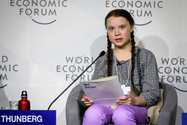 "Swedish youth climate activist Greta Thunberg (C) delivers a mesage on climate change at Davos that business executives called ""moving"" and ""inspiring"""