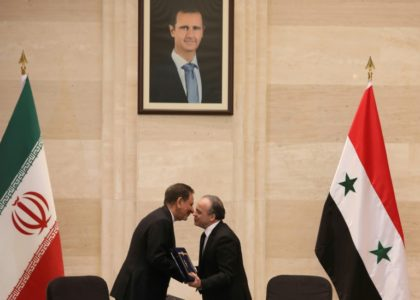 Syrian Prime Minister Imad Khamis (R, with Iranian First Vice President Eshaq Jahangiri) said the agreements included 'dozens of projects' in the oil sector and agriculture