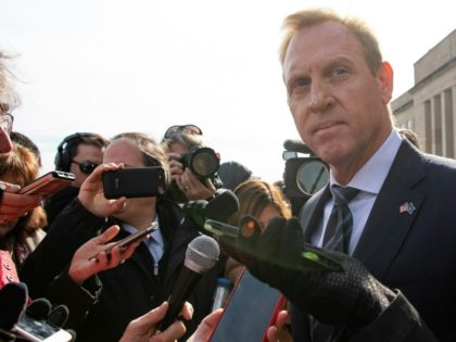 Acting Secretary of Defense Patrick Shanahan speaks with reporters outside the Pentagon this week