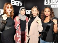 The organizers of the Women's March, from left to right: Bob Bland, Linda Sarsour, Carmen Perez, and Tamika Mallory, at BET's Social Awards in Atlanta, February 11, 2018.