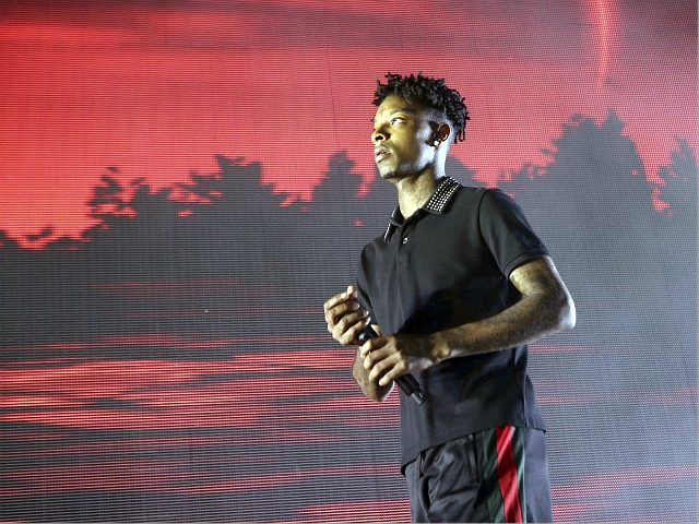 21 Savage performs as the opener for Post Malon at the Cellairis Amphitheatre at Lakewood on Sunday, June 10, 2018, in Atlanta. (Photo by Katie Darby/Invision/AP)
