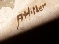 A picture taken on February 8, 2019 shows the signature 'AHitler' on a watercolour entitled 'Im Wald' (In the forest) displayed at the Weidler auction house in the southern city of Nuremberg. - A German auction house scrapped the planned sale of 26 artworks attributed to Adolf Hitler, after doubts …