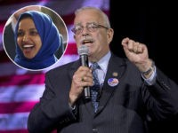 (INSET: Ilhan Omar) Congressman Gerry Connolly, D-11th, gestures during an election party in Falls Church, Va., Tuesday, Nov. 8, 2016. (AP Photo/Steve Helber)