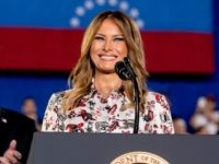 First lady Melania Trump, accompanied by President Donald Trump, smiles as she speaks in front of a Venezuelan American community at Florida Ocean Bank Convocation Center at Florida International University in Miami, Fla., Monday, Feb. 18, 2019, as Trump speaks out against President Nicolas Maduro's government and its socialist policies. …