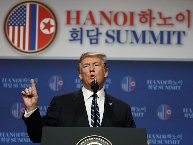 President Donald Trump speaks during a news conference after a summit with North Korean leader Kim Jong Un