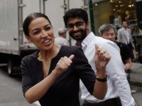 Alexandria Ocasio-Cortez and Saikat Chakrabarti (Mark Lennihan / Associated Press)