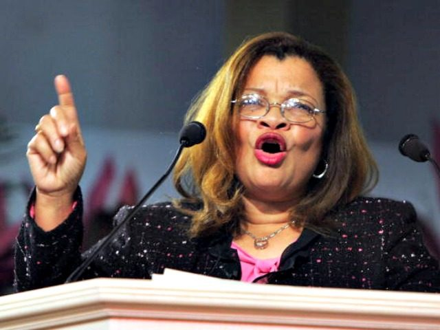 PHILADELPHIA - JANUARY 8: Dr. Alveda King, founder of King for America, Inc., gestures at the Justice Sunday III rally on January 8, 2006 in Philadelphia, Pennsylvania. Sponsored by the Family Research Council, the rally was held one day before the start of confirmation hearings for Supreme Court nominee Samuel …