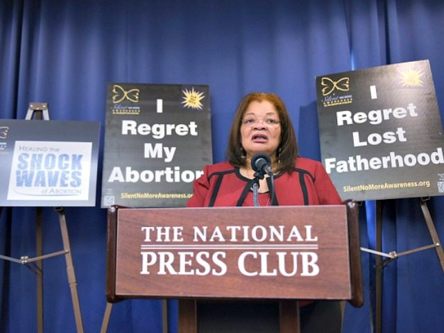 Alveda King, niece of civil rights leader Martin Luther King Jr. and director of African-American Outreach for Priests for Life, speaks during a press conference announcing the 'Healing the Shockwaves of Abortion' project on January 8, 2015 at the National Press Club in Washington, DC. The project aims to reach …