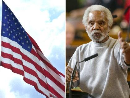 American Flag, Nebraska State Sen. Ernie Chambers - collage.