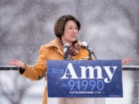 Sen. Amy Klobuchar (D-MN) announces her presidential bid in front of a crowd gathered at Boom Island Park on February 10, 2019 in Minneapolis, Minnesota. Klobuchar joins a crowded field of Democrats vying for the 2020 nomination. (Photo by Stephen Maturen/Getty Images)