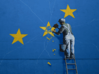 DOVER, ENGLAND - AUGUST 29: A painted mural by British graffiti artist Banksy, depicting a workman chipping away at one of the stars on a European Union (EU) themed flag on August 29, 2018 in Dover, England. (Photo by Dan Kitwood/Getty Images)