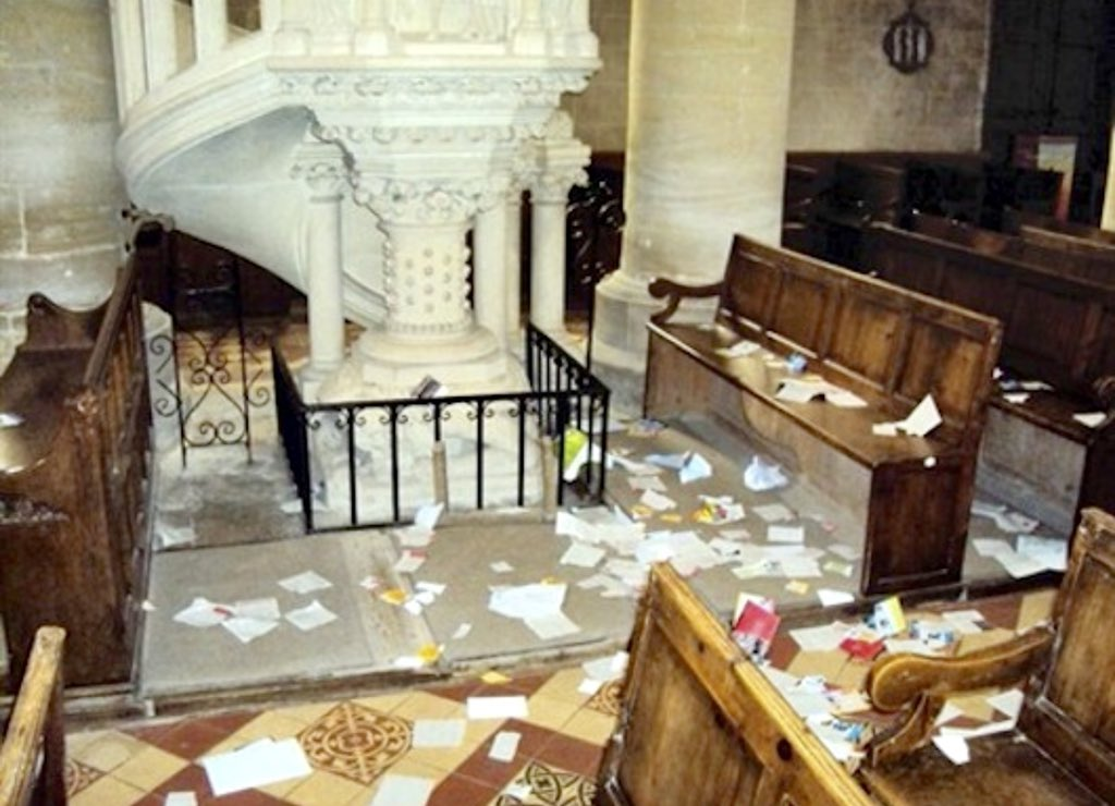 Church vandalism France again