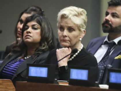 Cindy McCain at a human trafficking conference during last year's United Nations General Assembly. In a radio interview this week, she recalled intervening in a human trafficking case at an airport, an account the police later contradicted. (Bebeto Matthews/Associated Press)