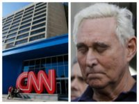 Combo photo with CNN building and Roger Stone