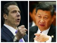NY Gov. Andrew Cuomo fist and China's Xi Jinping finger combo