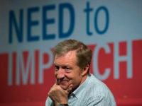 US environmental activist and Democrat Tom Steyer listens to a question during a Town Hall meeting In the Need to Impeach President Donald Trump in New York on January 29, 2018. Steyer, the billionaire environmental activist and philanthropist, launched the Need to Impeach movement through television and social networking advertisement …