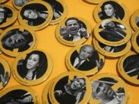 Democrat candidate buttons (Alex Wong / Getty)