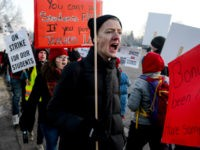Denver Public Schools teachers and members of the community picket outside South High School on February 11, 2019 in Denver, Colorado. Denver teachers are striking for the first time in 25 years after the school district and the union representing the educators failed to reach an agreement after 14 months …
