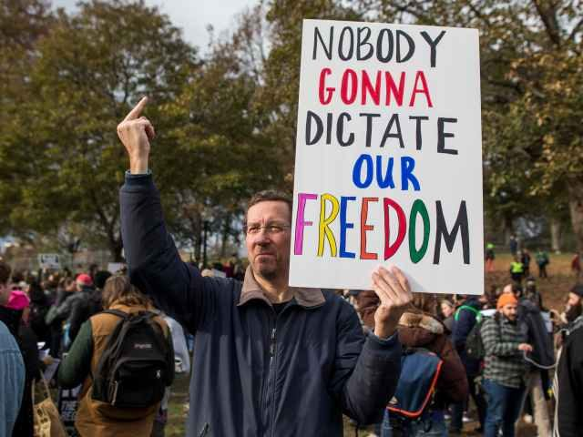 A man protests censorship