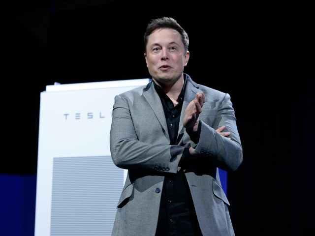 Elon Musk speaking to a Tesla audience