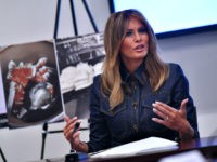 US First Lady Melania Trump takes part in a briefing at the Office of National Drug Control Policy in Washington, DC on February 7, 2019. (Photo by MANDEL NGAN / AFP) (Photo credit should read MANDEL NGAN/AFP/Getty Images)