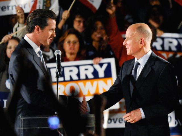 Gavin Newsom and Jerry Brown (Kevork Djansezian / Getty)