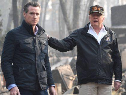 Gavin Newsom and Trump (Saul Loeb / AFP / Getty)