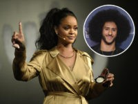 "(INSET: Colin Kaepernick) DUBAI, UNITED ARAB EMIRATES - SEPTEMBER 29: Rihanna gestures on stage during her Fenty Beauty talk in collaboration with Sephora, for the launch of her new Stunna Lip paint ""Uninvited"" on September 29, 2018 in Dubai, United Arab Emirates. (Photo by Mark Ganzon/Getty Images for Fenty Beauty)"