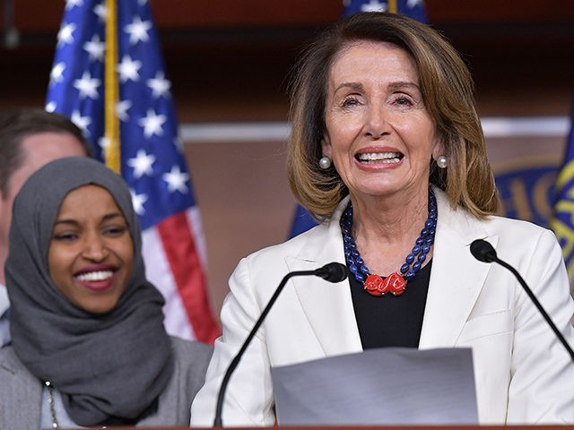 House Minority Leader Nancy Pelosi speaks during a press conference in the House Visitors Center at the US Capitol in Washington, DC on November 30, 2018. Flanking her are: Representatives-elect Ilhan Omar, D-MN, and Susan Wild, D-PA. (Photo by MANDEL NGAN / AFP) (Photo credit should read MANDEL NGAN/AFP/Getty Images)
