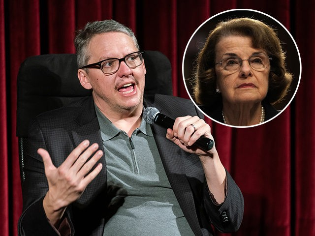 (INSET: Dianne Feinstein) NEW YORK, NEW YORK - DECEMBER 18: Director Adam McKay attends The Academy of Motion Pictures Arts